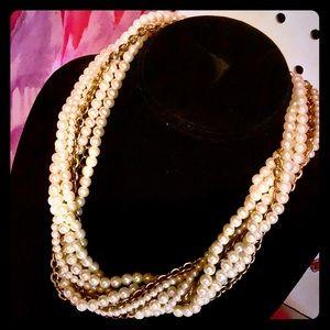 Multi-Strand Faux Pearl + Gold Tone Chain Necklace